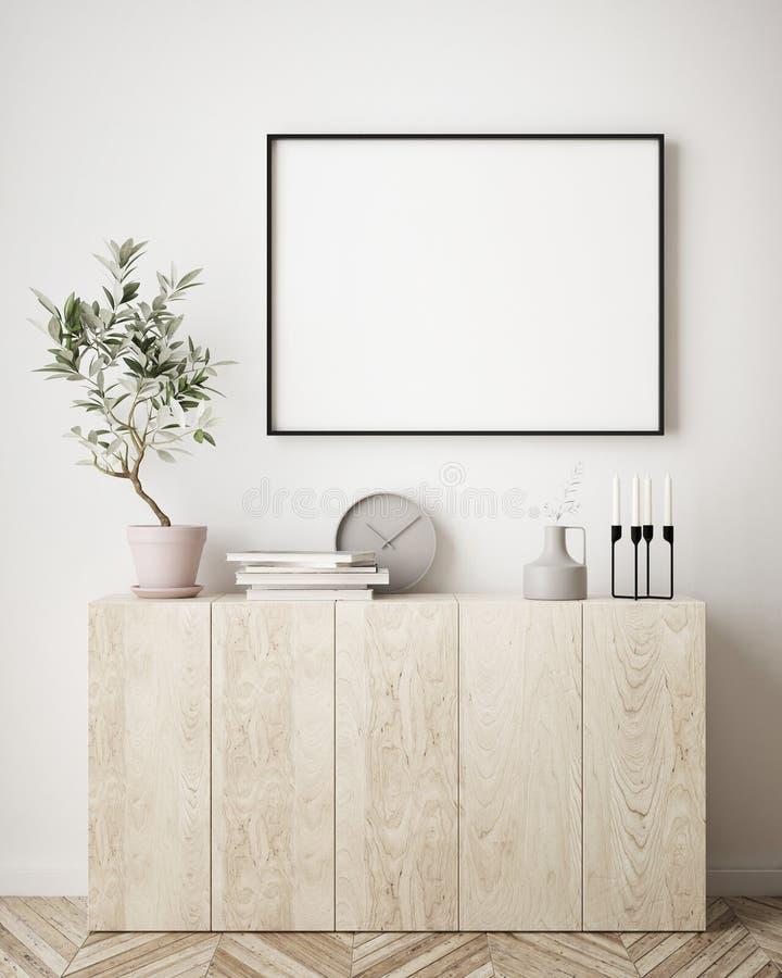 Mock up poster frame in hipster interior background, Scandinavian style,. 3D render, 3D illustration vector illustration
