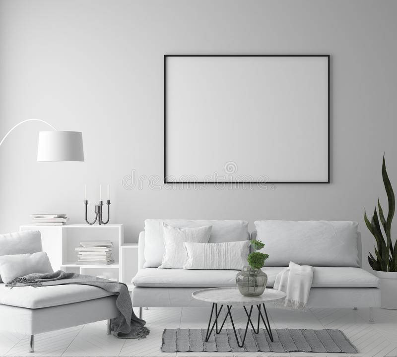 Mock up poster frame in hipster interior background, living room, Scandinavian style, 3D render, 3D illustration. Mock up poster frame in hipster interior vector illustration