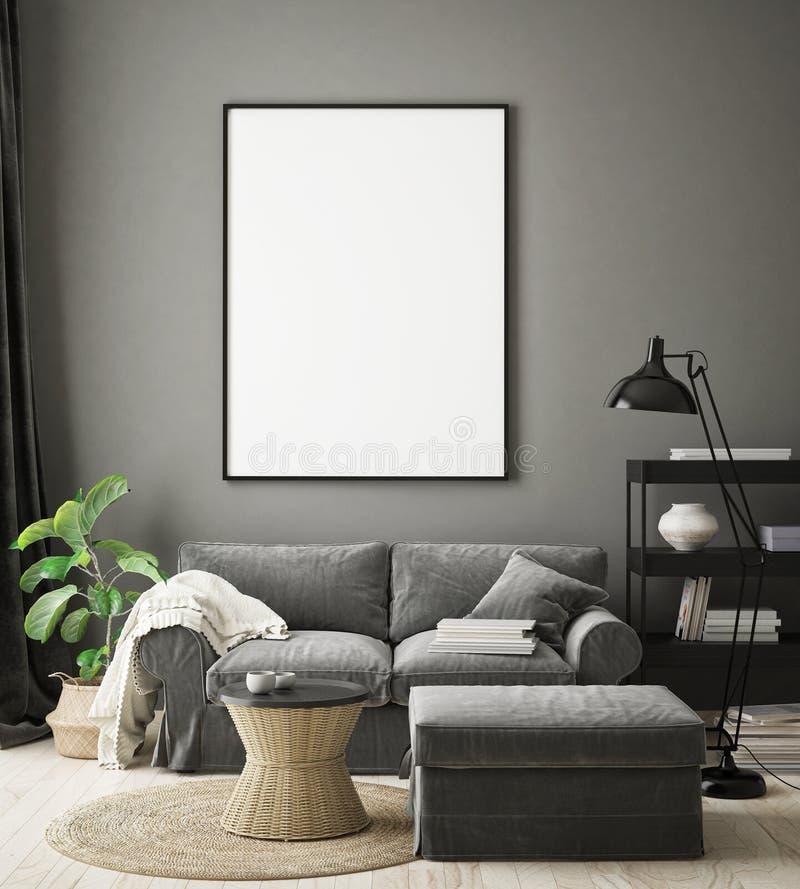 Mock up poster frame in hipster interior background, living room,Scandinavian style, 3D render, 3D illustration royalty free illustration