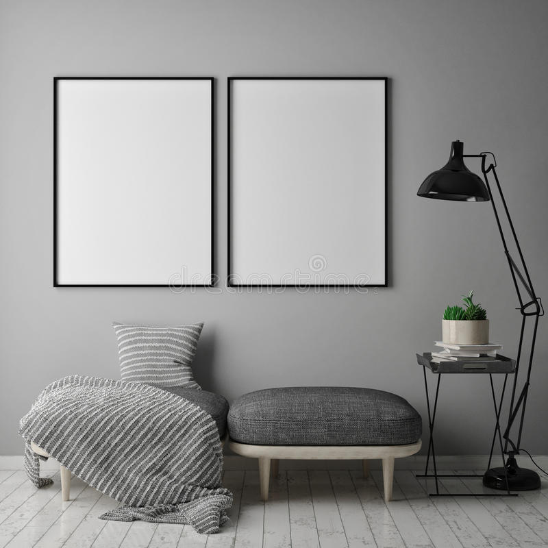 Mock up poster frame in hipster interior background, scandinavian style, 3D render, vector illustration