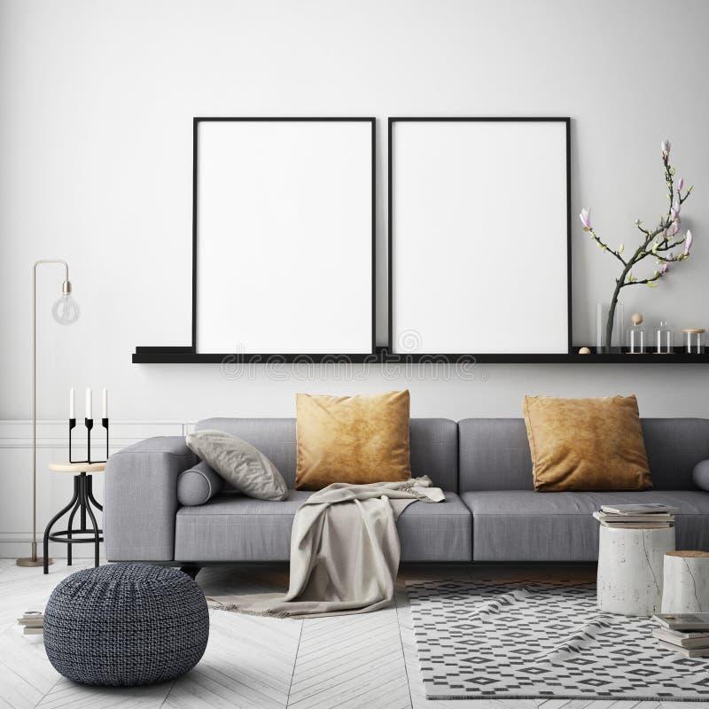 Mock up poster frame in hipster interior background, Scandinavian style, 3D render. 3D illustration