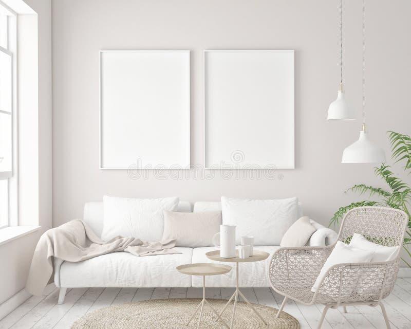 Mock up poster frame in hipster interior background, Scandinavian style. 3D render, 3D illustration royalty free illustration