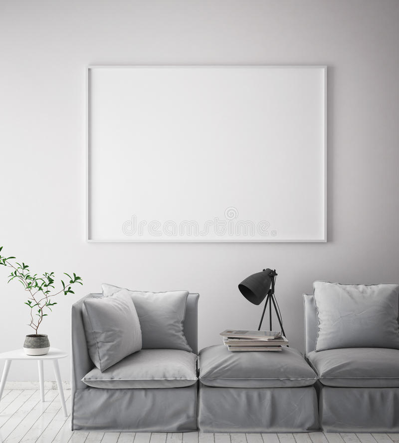 Mock up poster frame in hipster interior background, scandinavian style, 3D render royalty free illustration