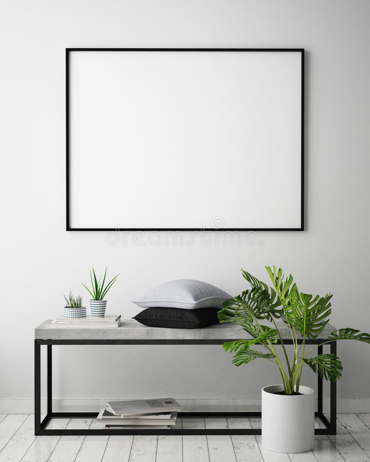 Mock up poster frame in hipster interior background, scandinavian style, 3D render stock illustration