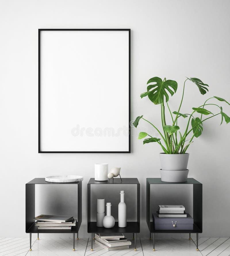 Mock up poster frame in hipster interior background, scandinavian style, 3D render vector illustration