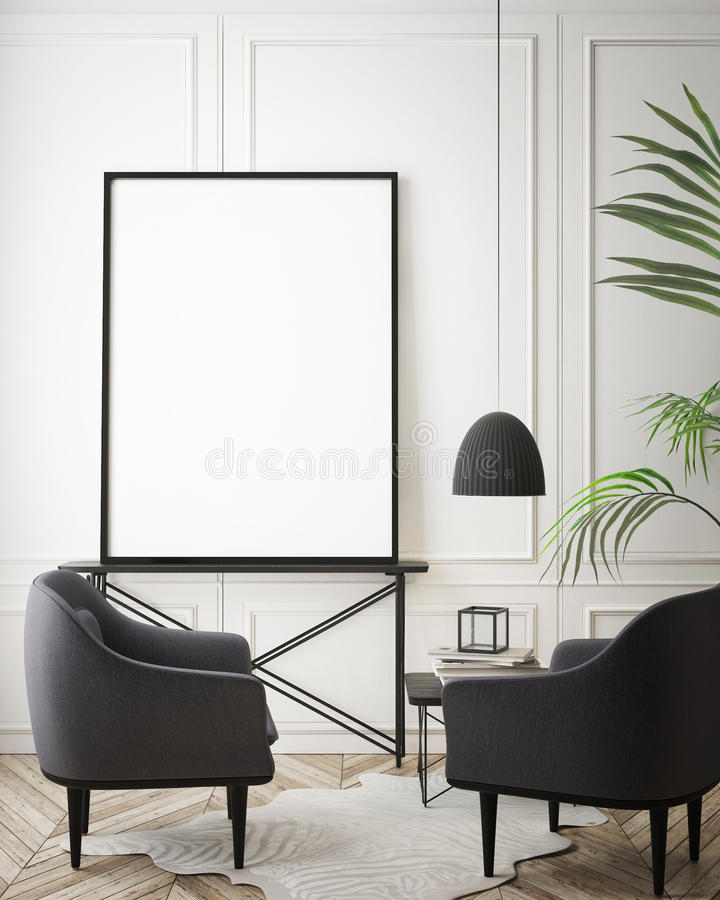 Mock up poster frame in hipster interior background, scandinavian style, 3D render vector illustration
