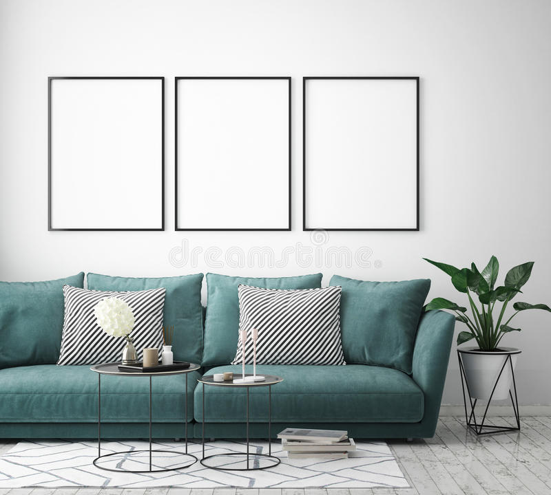 Mock up poster frame in hipster interior background, scandinavian style, 3D render stock illustration
