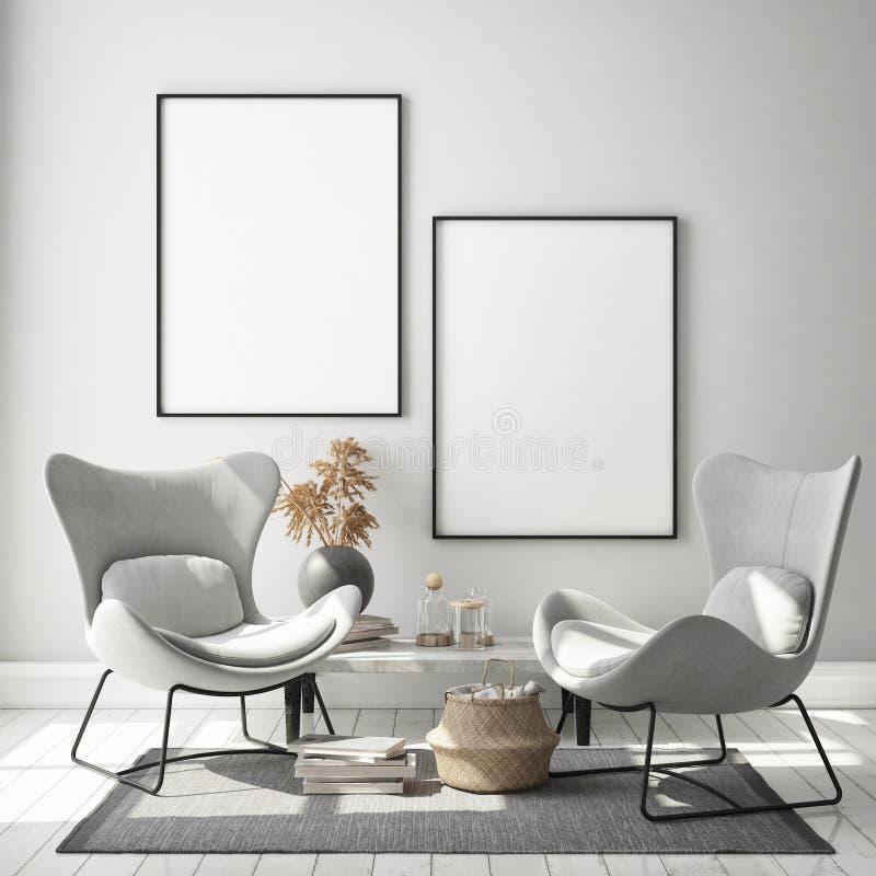 Mock up poster frame in hipster interior background, living room,Scandinavian style, 3D render, 3D illustration. Mock up poster frame in hipster interior stock illustration