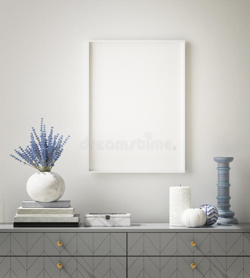 Mock up poster frame in hipster interior background, living room,Scandinavian style, 3D render, 3D illustration. Mock up poster frame in hipster interior royalty free illustration