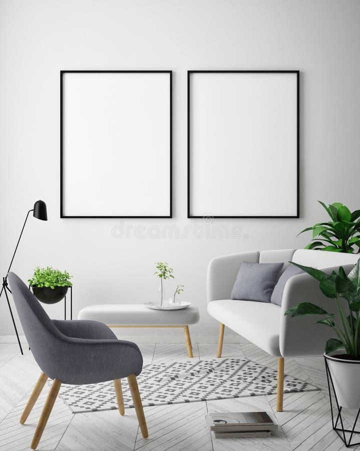 Mock up poster frame in hipster interior background, Scandinavian style, 3D render. 3D illustration stock illustration