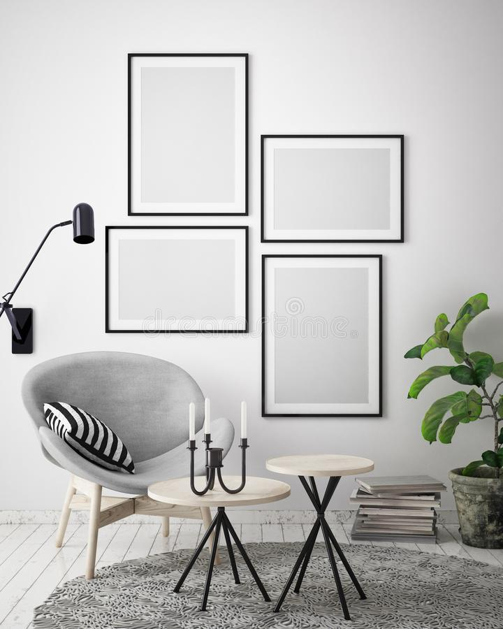 Mock Up Poster Frame In Hipster Interior Background, Scandinavian ...