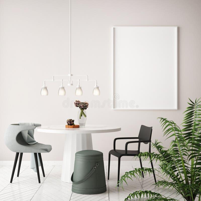 Mock up poster frame in hipster interior dining room background, Scandinavian style vector illustration