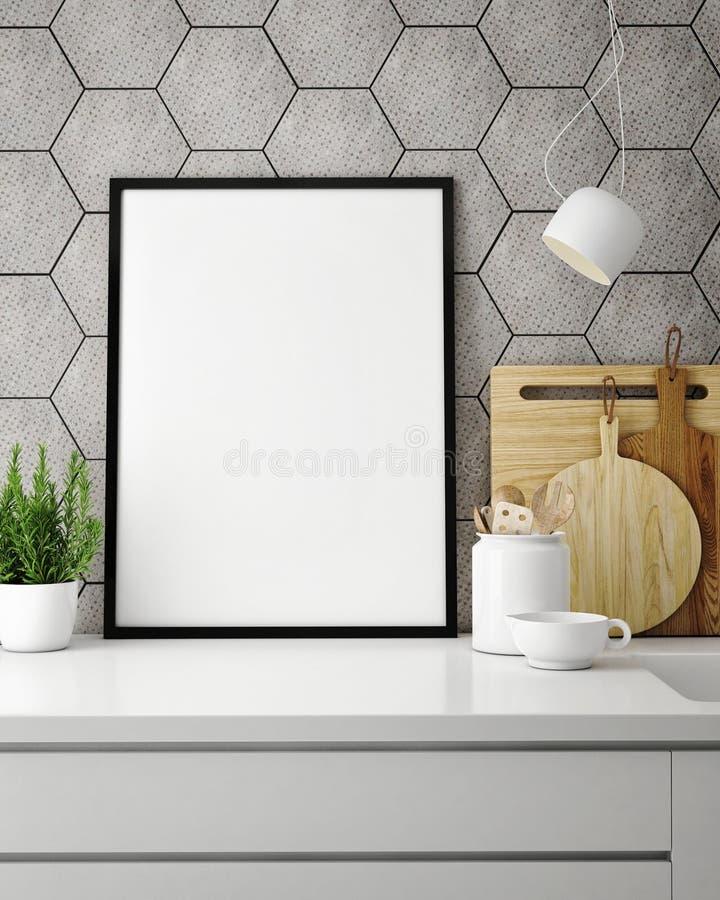Mock up poster frame in hipster kitchen, interior backround stock illustration