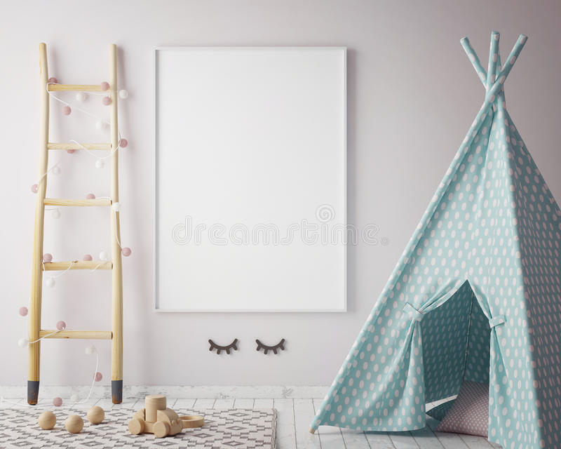 Mock up poster frame in hipster room, scandinavian style interior background, 3D render stock illustration