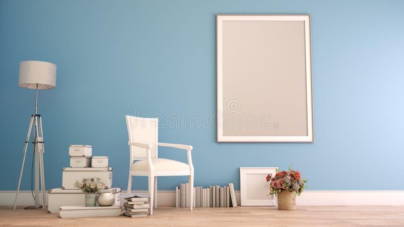 Mock up poster frame in home decor blue vector illustration