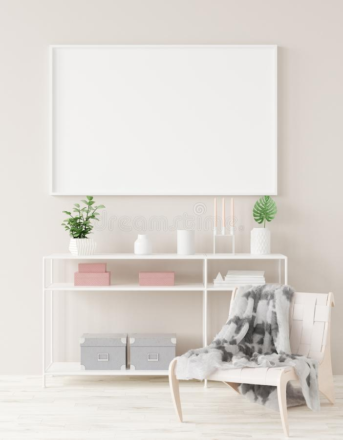 Mock up poster frame in home interior background royalty free stock photo