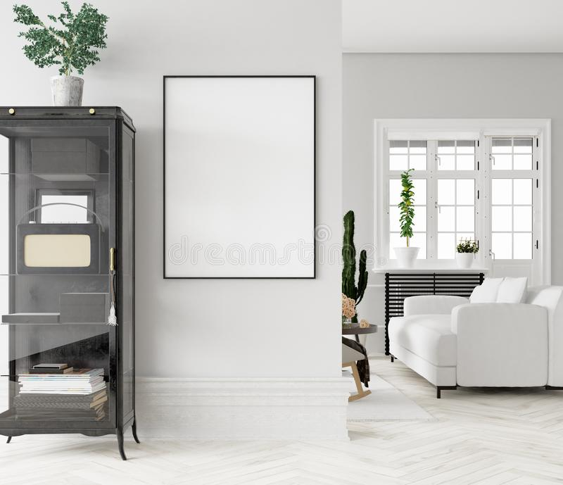 Mock up poster frame in home interior background royalty free stock photos