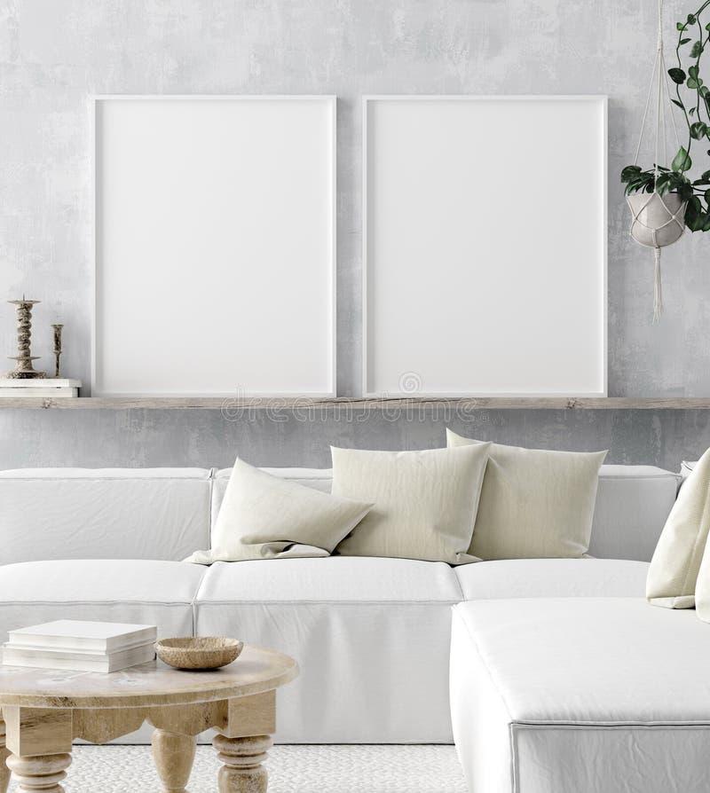 Mock up poster frame in home interior background, Scandi-boho style. 3D render vector illustration