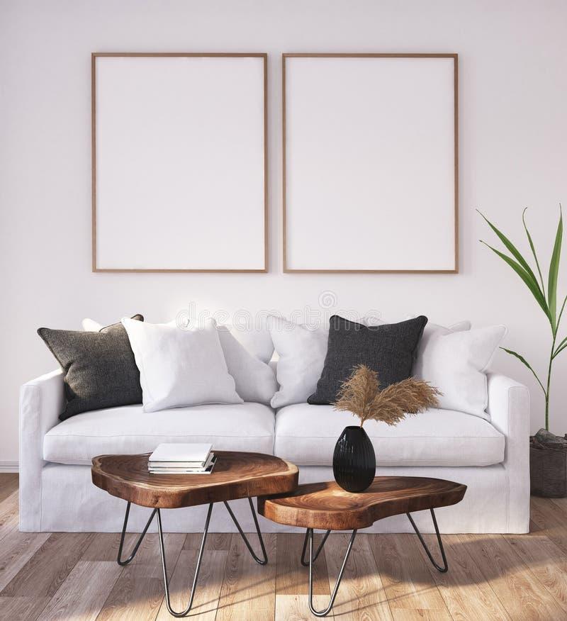 Mock up poster frame in home interior background, Scandinavian Bohemian style living room vector illustration