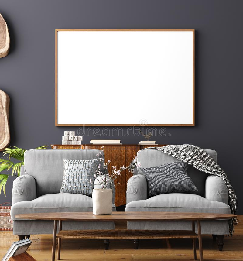 Mock up poster frame in home interior background, Scandinavian style. 3D render stock images