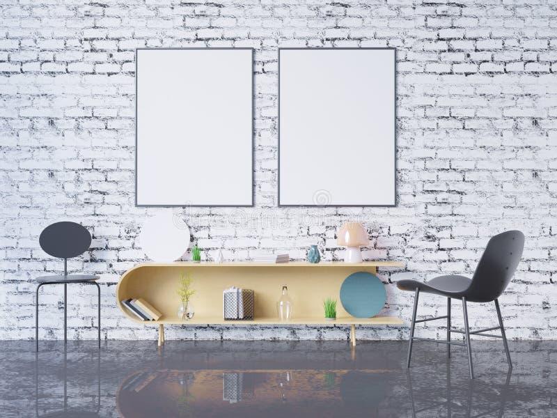 Mock up poster frame in home office interior background, 3D render, 3D illustration vector illustration