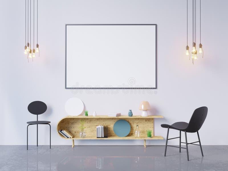 Mock up poster frame in home office interior background, 3D render, 3D illustration royalty free illustration