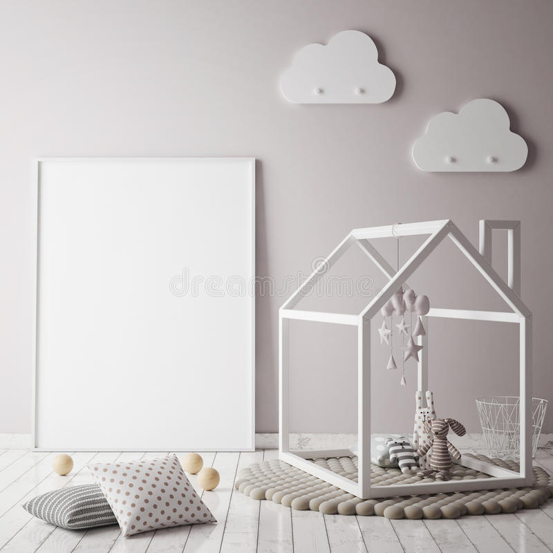 Free Mock Up Poster Frame In Children Bedroom, Scandinavian Style Interior Background, Royalty Free Stock Image - 81704856