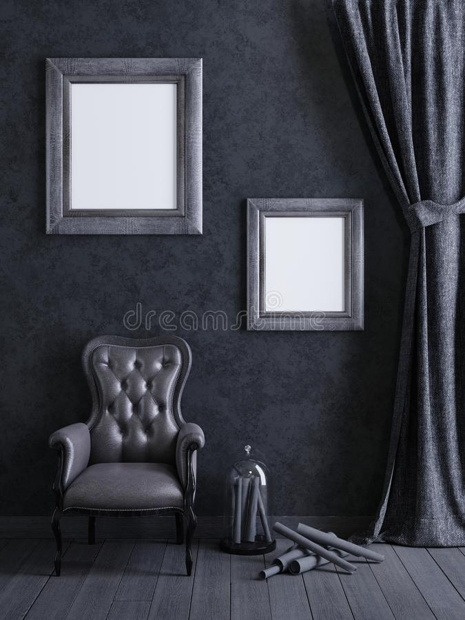 Free Mock Up Poster Frame In Grey Concept Interior Background, 3D Render Royalty Free Stock Images - 127050249