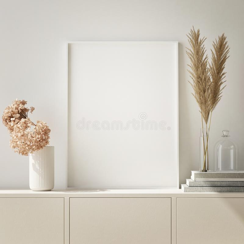 Free Mock Up Poster Frame In Hipster Interior Background, Living Room,Scandinavian Style, 3D Render, 3D Illustration Royalty Free Stock Photo - 130763565