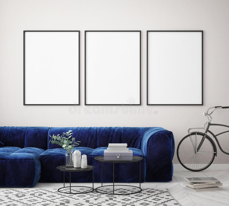 Free Mock Up Poster Frame In Hipster Interior Background, Scandinavian Style, 3D Render Royalty Free Stock Images - 99284709