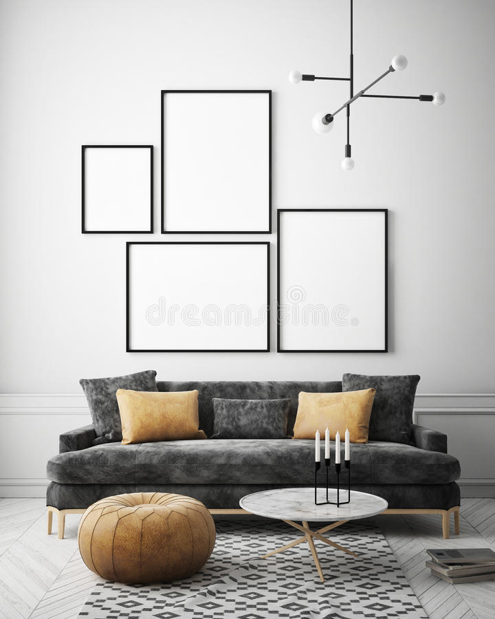Free Mock Up Poster Frame In Hipster Interior Background, Scandinavian Style, 3D Render Stock Photography - 99285792