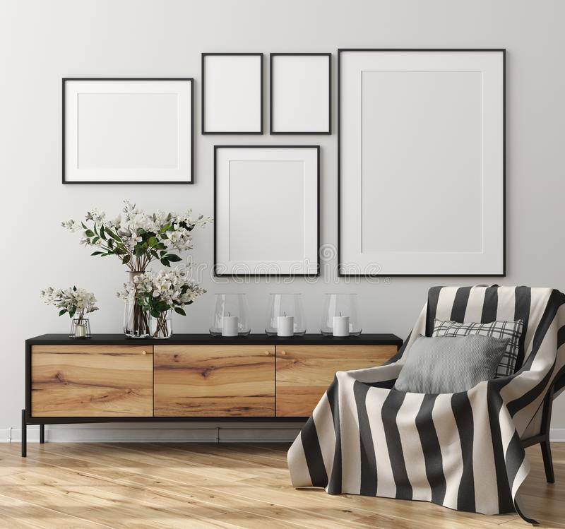 Free Mock Up Poster Frame In Home Interior, Scandinavian Style Royalty Free Stock Photos - 161059368