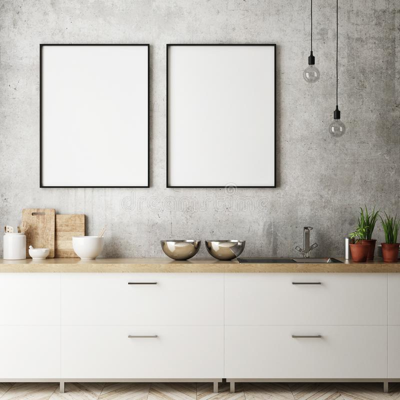 Free Mock Up Poster Frame In Kitchen Interior Background, Scandinavian Style, 3D Render Stock Photos - 108330653