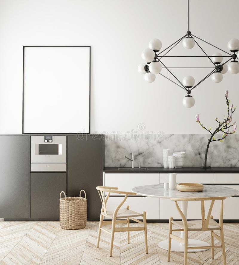 Free Mock Up Poster Frame In Kitchen Interior Background, Scandinavian Style, 3D Render Royalty Free Stock Image - 111734006