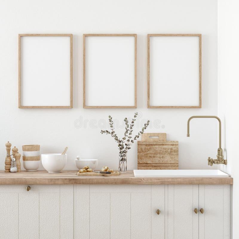 Free Mock Up Poster Frame In Kitchen Interior, Farmhouse Style Stock Photo - 196881250
