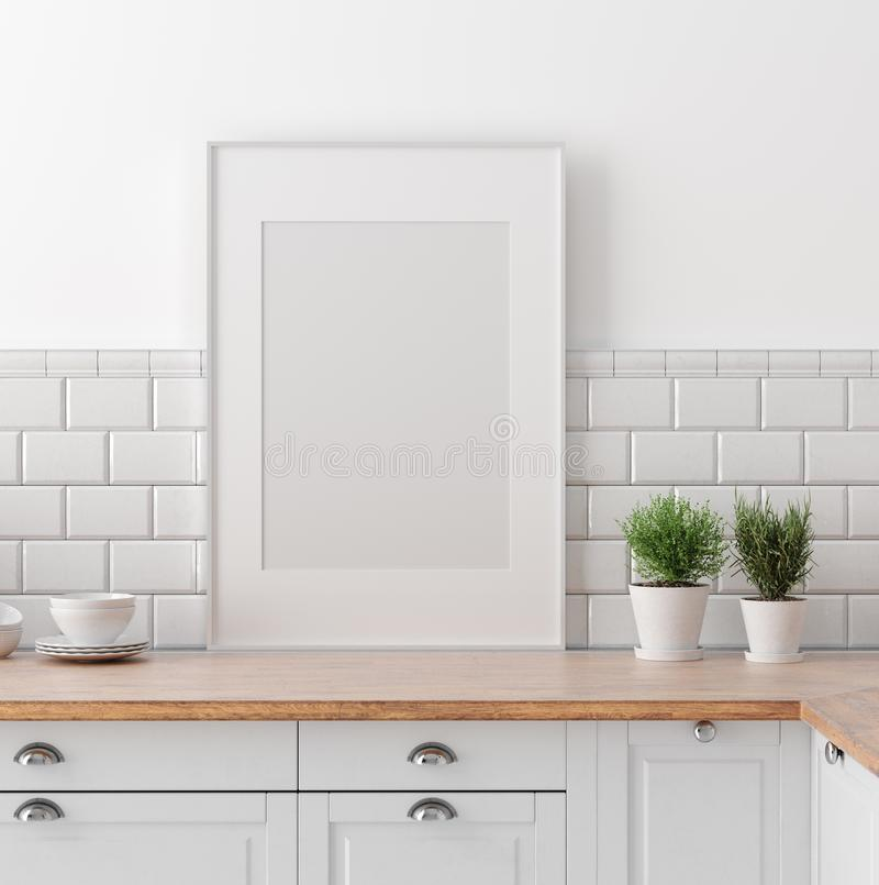 Free Mock Up Poster Frame In Kitchen Interior, Scandinavian Style Stock Photos - 144333423