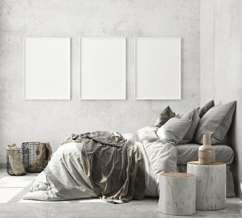 Free Mock Up Poster Frame In Modern Interior Background, Bedroom, Scandinavian Style, 3D Render Stock Photos - 189133393