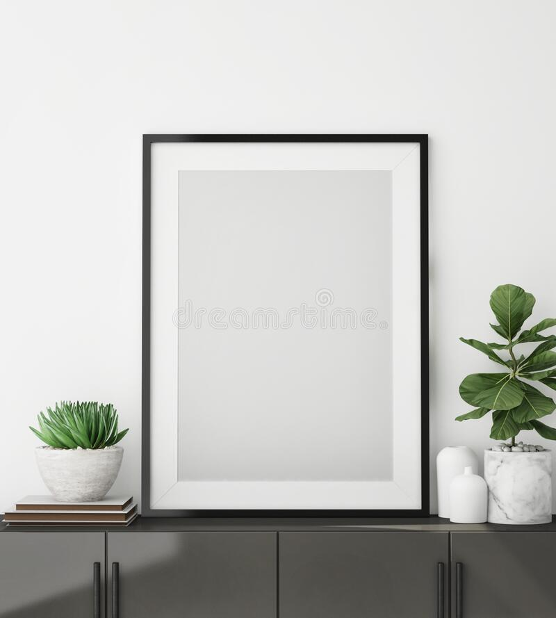 Free Mock Up Poster Frame In Modern Interior Background, Close Up, Livingroom, Scandinavian Style, 3D Render Stock Image - 186347181