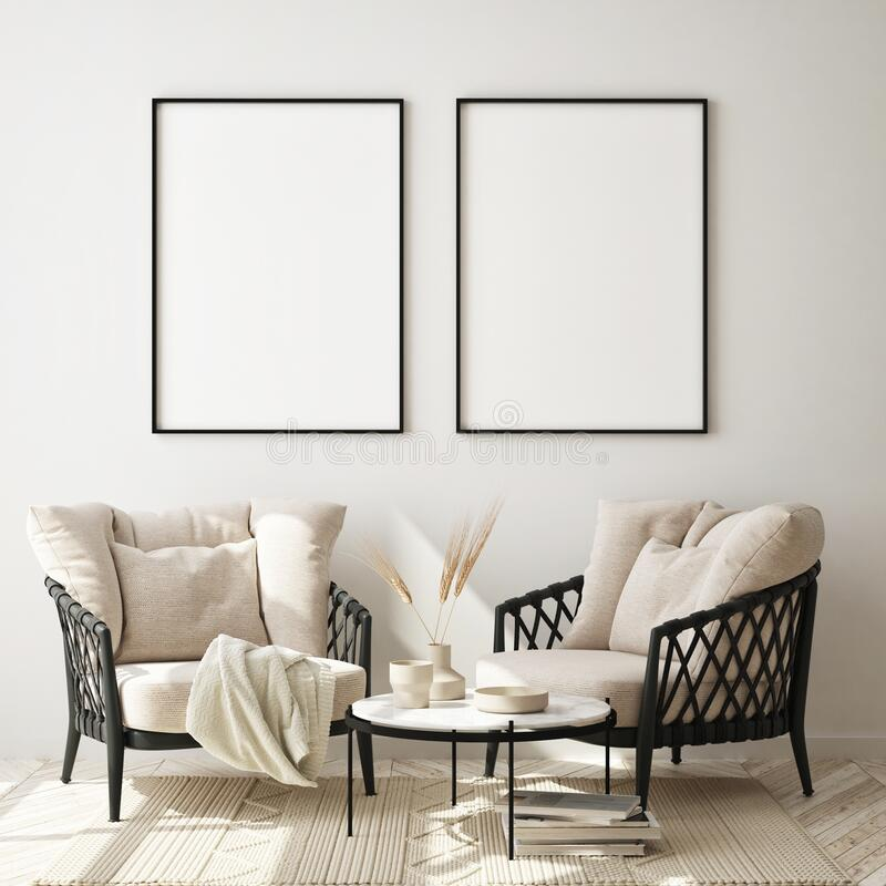 Free Mock Up Poster Frame In Modern Interior Background, Close Up, Livingroom, Scandinavian Style, 3D Render Stock Photos - 187234253