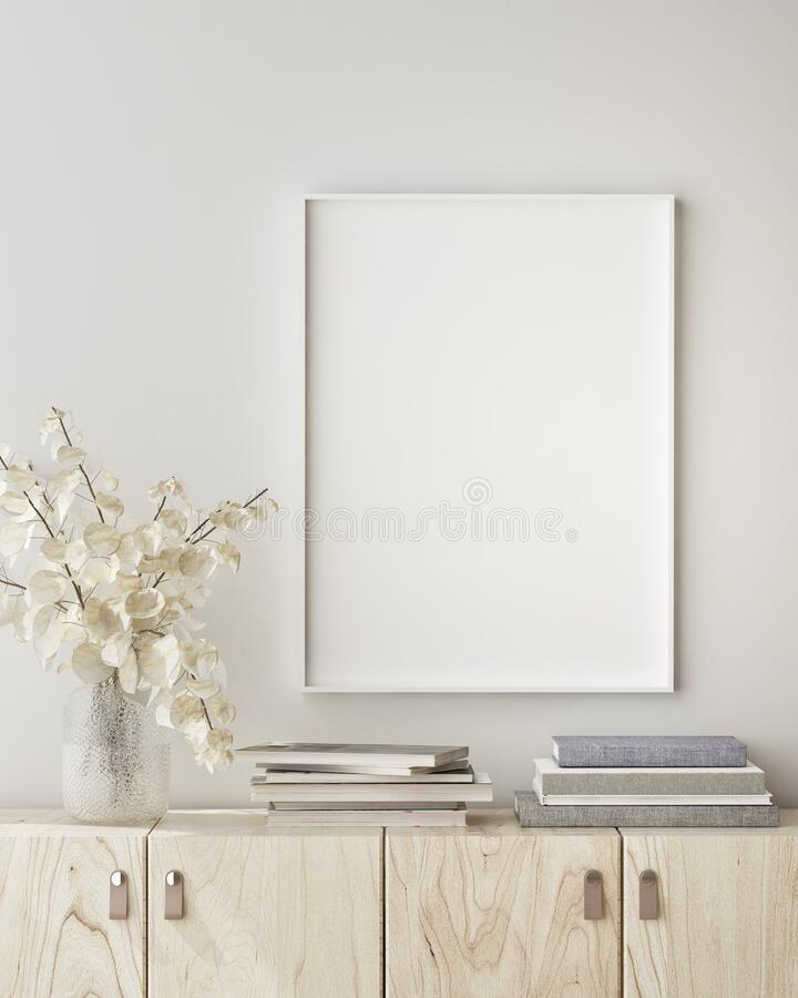 Free Mock Up Poster Frame In Modern Interior Background, Close Up, Livingroom, Scandinavian Style, 3D Render Stock Images - 187234774