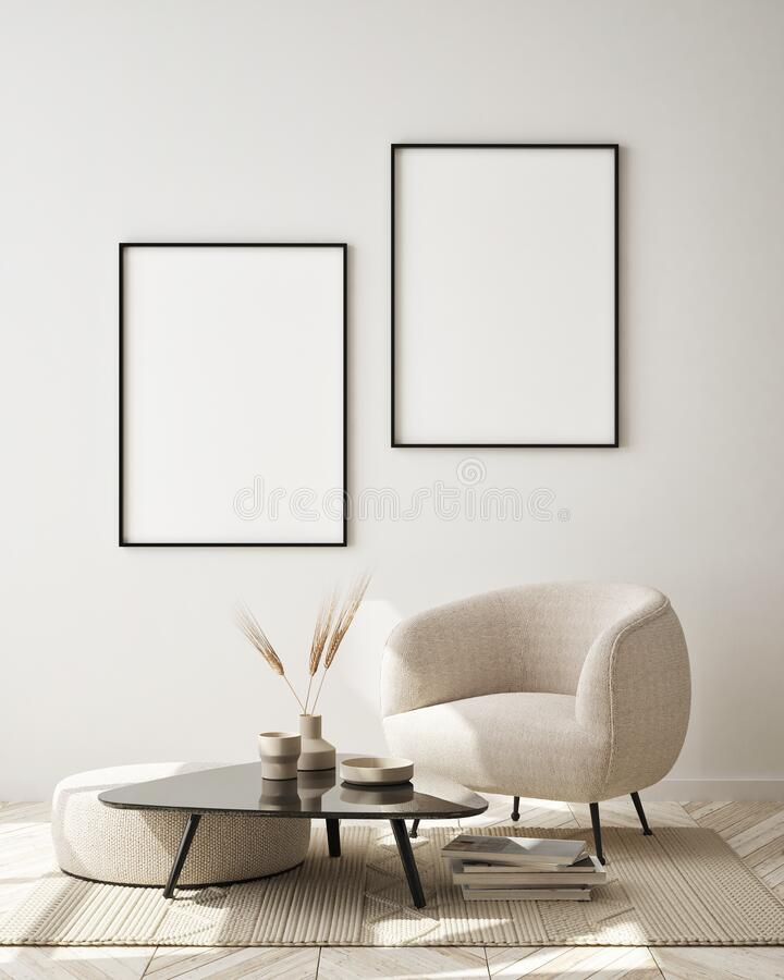 Free Mock Up Poster Frame In Modern Interior Background, Close Up, Livingroom, Scandinavian Style, 3D Render Stock Photos - 187234863