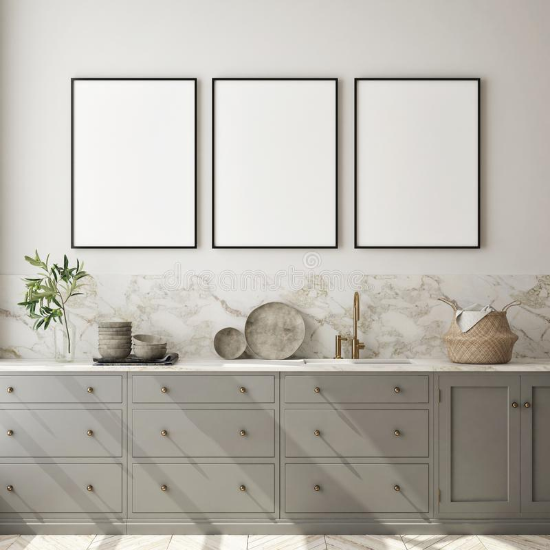 Free Mock Up Poster Frame In Modern Interior Background, Kitchen, Scandinavian Style, 3D Render Royalty Free Stock Image - 154443636