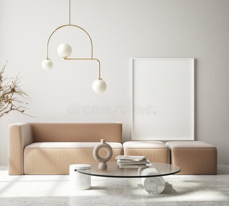 Free Mock Up Poster Frame In Modern Interior Background Living Room Art Deco Style 3D Render Stock Photo - 215918440