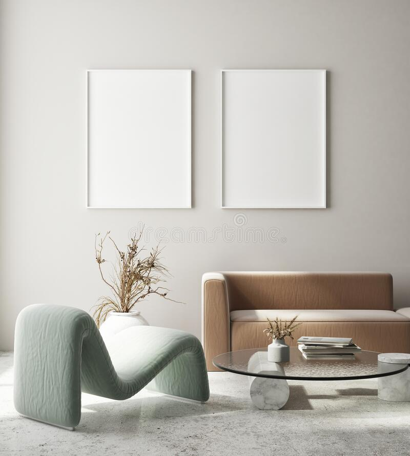 Free Mock Up Poster Frame In Modern Interior Background Living Room Art Deco Style 3D Render Royalty Free Stock Image - 215918466