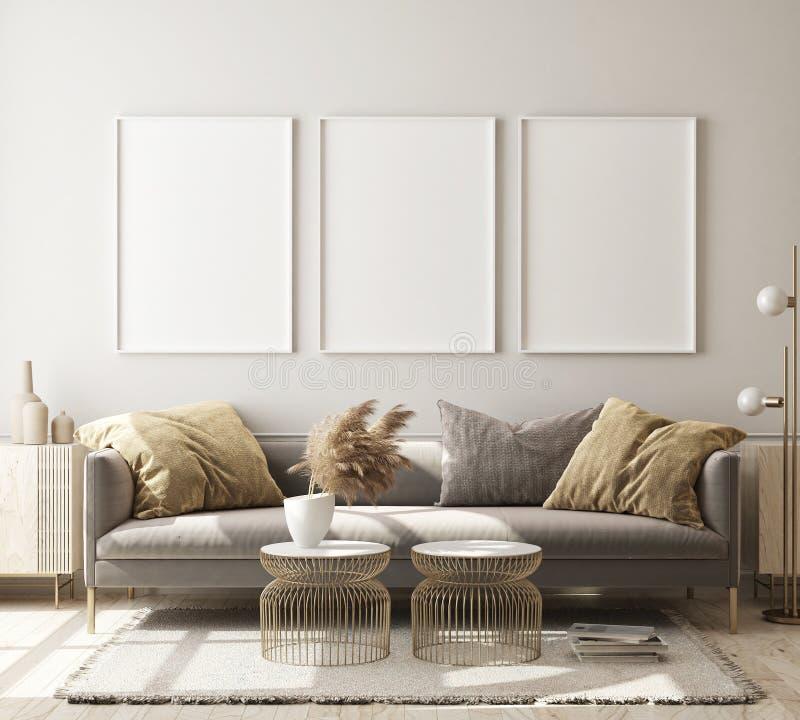 Free Mock Up Poster Frame In Modern Interior Background, Living Room, Scandinavian Style,3D Illustration, 3D Render Stock Photo - 161161670