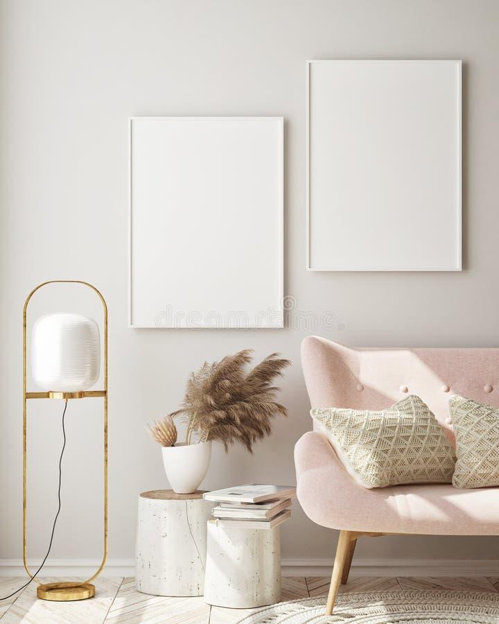 Free Mock Up Poster Frame In Modern Interior Background, Living Room, Scandinavian Style, 3D Render Stock Photos - 154443653
