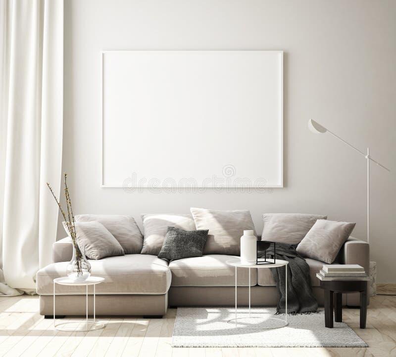 Free Mock Up Poster Frame In Modern Interior Background, Living Room, Scandinavian Style, 3D Render, 3D Illustration Royalty Free Stock Images - 146677459