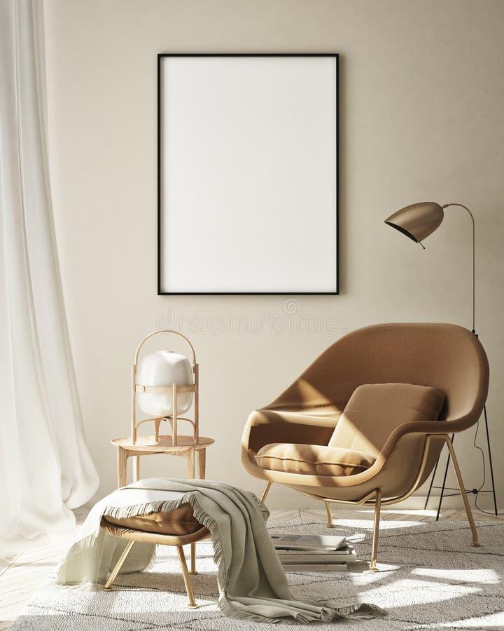 Free Mock Up Poster Frame In Modern Interior Background, Livingroom, Scandinavian Style, 3D Render Stock Photography - 183620242