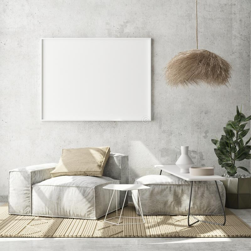 Free Mock Up Poster Frame In Modern Interior Background, Livingroom, Scandinavian Style, 3D Render Royalty Free Stock Image - 188063486