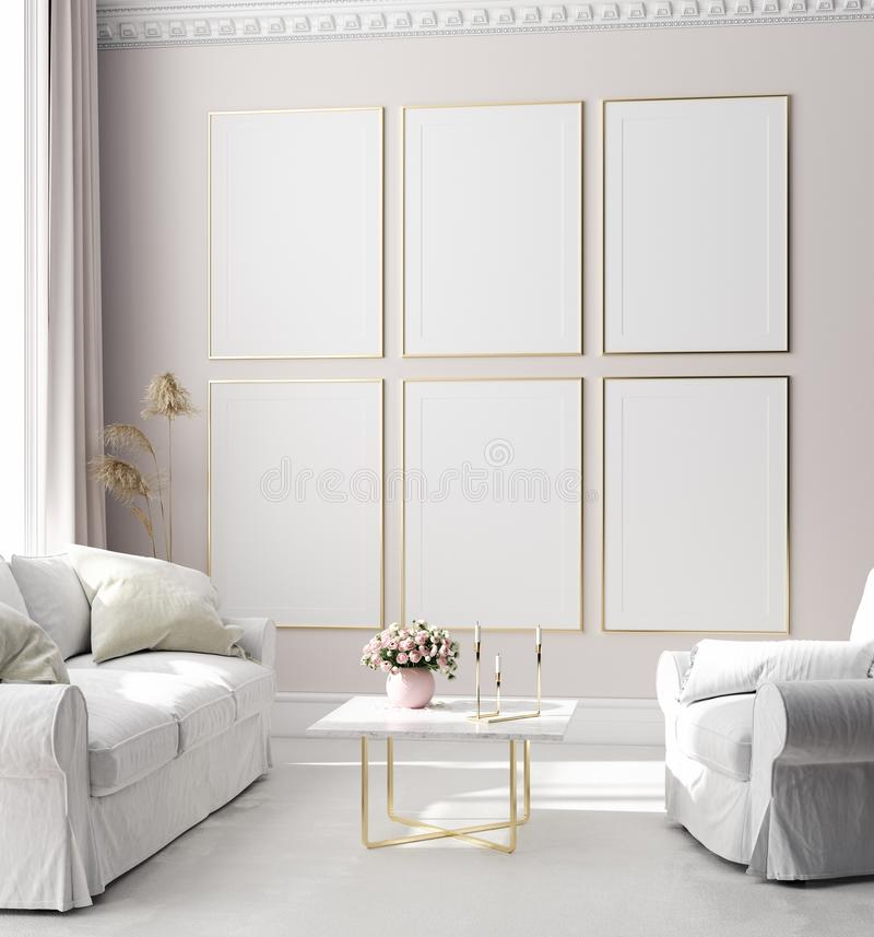Free Mock Up Poster Frame In Modern Interior Background, Scandinavian Style Royalty Free Stock Photos - 161062558